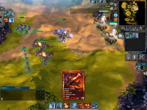 Κλασική εικόνα απο μάχη: οι μονάδες είναι κάρτες και παίζονται άμεσα στον χάρτη