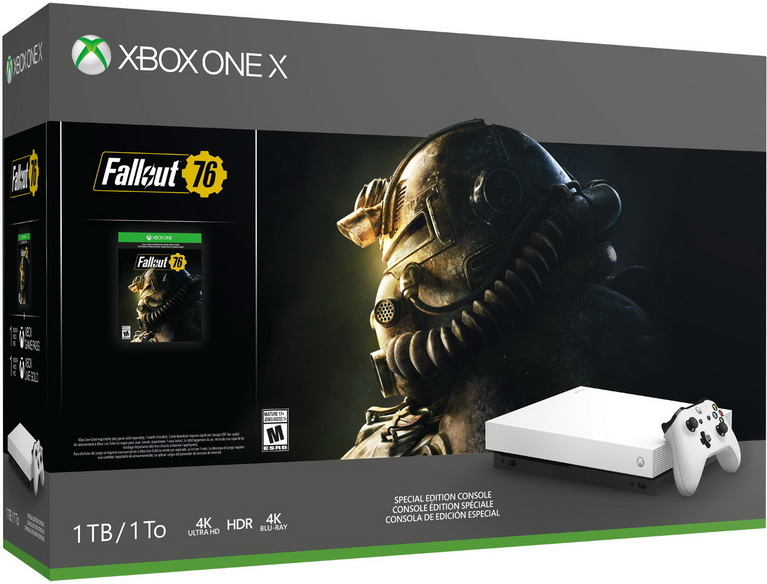 white xbox one x fallout 76 bundle