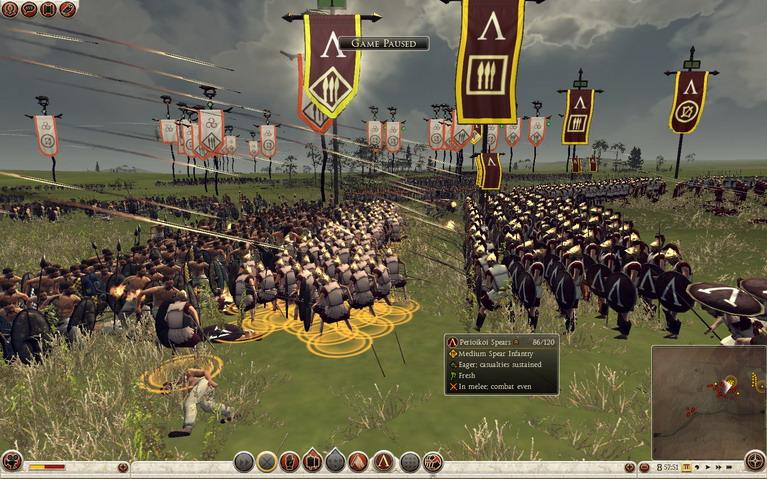 Οι γενναίοι Σπαρτιάτες οπλίτες μου κόντρα στους απολίτιστους βαρβάρους του Βορρά.