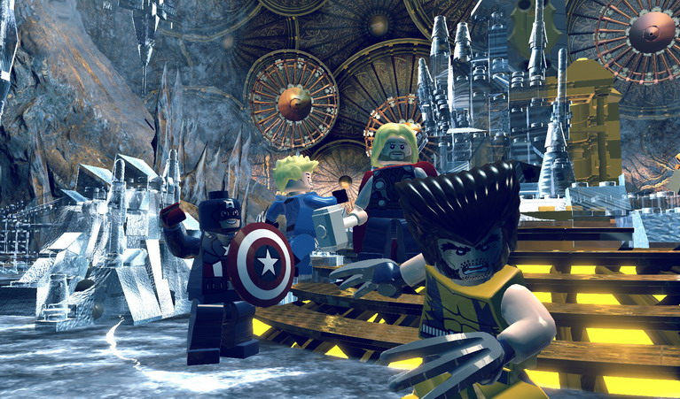 Wolverine, Thor, Captain America και Human Torch ποζάρουν στο φακό.