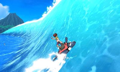 Δαμάζοντας τα κύματα στο mini-game του Mantine Surf.